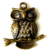 1pc puffed owl on branch antique brass 36x42mm
