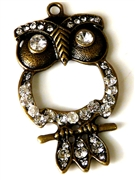 1pc rhinestone owl antique brass 56x32mm