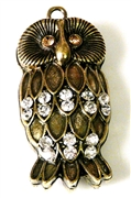 1pc puffy weave owl antique brass 54x26mm