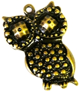 2pc antique brass small owl charms 32x21mm