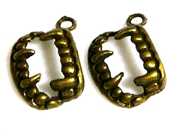 6pc antique brass fang charms 16x13mm