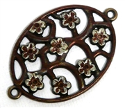 1pc antique brass oval flower connector 46x30mm