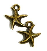 2pc antique brass starfish charms 13x13mm