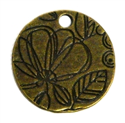 1pc antique brass flat flower coin 26mm