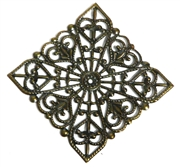 1pc antique brass filigree square 40mm