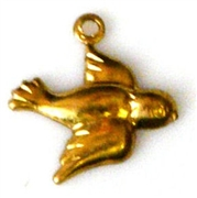 2pc brass charm tiny bird 11x11mm