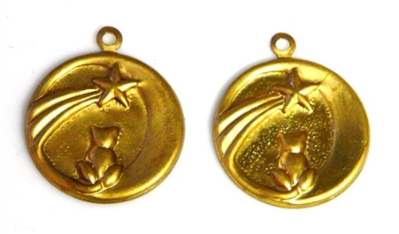 4pc brass cat moon charms