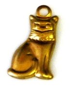 4pc brass charm cat 12x6mm