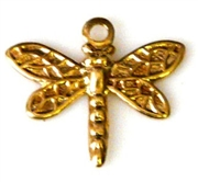 2pc brass charm dragonfly small 15x10mm