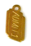 4pc brass charm admit one ticket 12x6mm