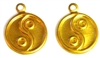 8pc ying yang charms brass