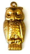 2pc brass charm puffy owl 21x10mm