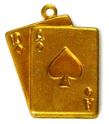 2pc brass charm cards ace of spades