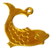 2pc brass charm japanese koi fish