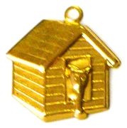 2pc brass charm doghouse