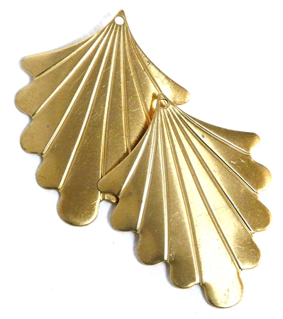 1pc brass fan charm 32x25mm