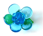 1pc glass charm flower blue w/wire bail 20mm