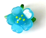 1pc glass charm flower blue w/glass bail 20mm