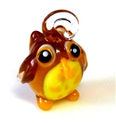 1pc glass charm owl 30mm