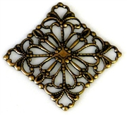 1pc antique gold charm filigree diamond 20x20mm