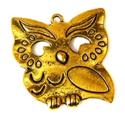 2pc antique gold solid small owl 31x30mm