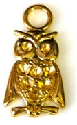 2pc antique gold charm owl w/rhinestone setting spaces 30x15mm