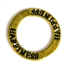 1pc 22mm double sides toggle ring gold plated hapiness