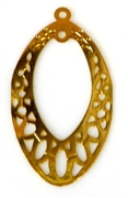 2pc antique gold charm oval drop 30x15mm