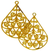 2pc lace cut charm gold plated teardrop
