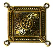 1pc antique gold connector square flower