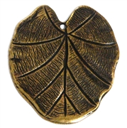 1pc antique gold large flat leaf 27x31mm