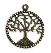 1pc antique gold small tree of life charm 21mm