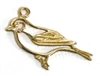 1pc antique gold bird outline charm 26x10mm