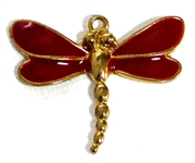 1pc antique gold dragonfly with red enamel 34x37mm