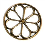 1pc antique gold open flower round 25mm