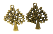2pc Antique Brass Tree Swirls Charm 29x24mm
