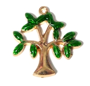 1pc Copper Enamel Green Tree Charm / Pendant  33x32mm