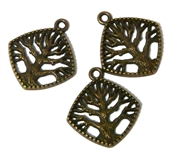 3pc Antique Brass Diamond Tree Charm 22x20mm