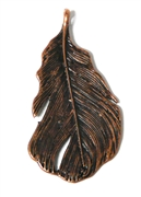 1pc Antique Copper Medium Textured Leaf Charm 49x25mm