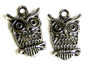 4pc owl charm antique silver 23x13mm