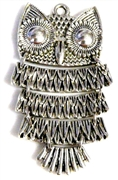 1pc moveable owl charm silver plated 75x35mm