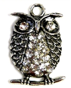 2pc rhinestone owl charm 32x20mm antique silver