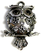 1pc antique silver puffed owl on branch 45x35mm