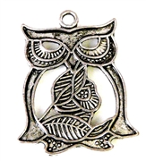 2pc antique silver small owl w/rose 26x17mm