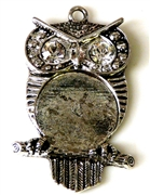 1pc owl silver plated w/setting 41x23mm