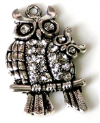 1pc rhinestone pendant duo owl silver 42x26mm