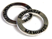 1pc 22mm double sides toggle ring silver plated memories