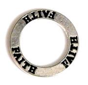 1pc 22mm double sides toggle ring silver plated faith