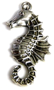 2pc antique silver seahorse charm 39x20mm