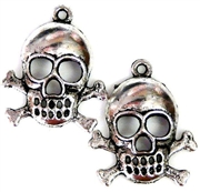 4pc antique silver skull charms 25mm